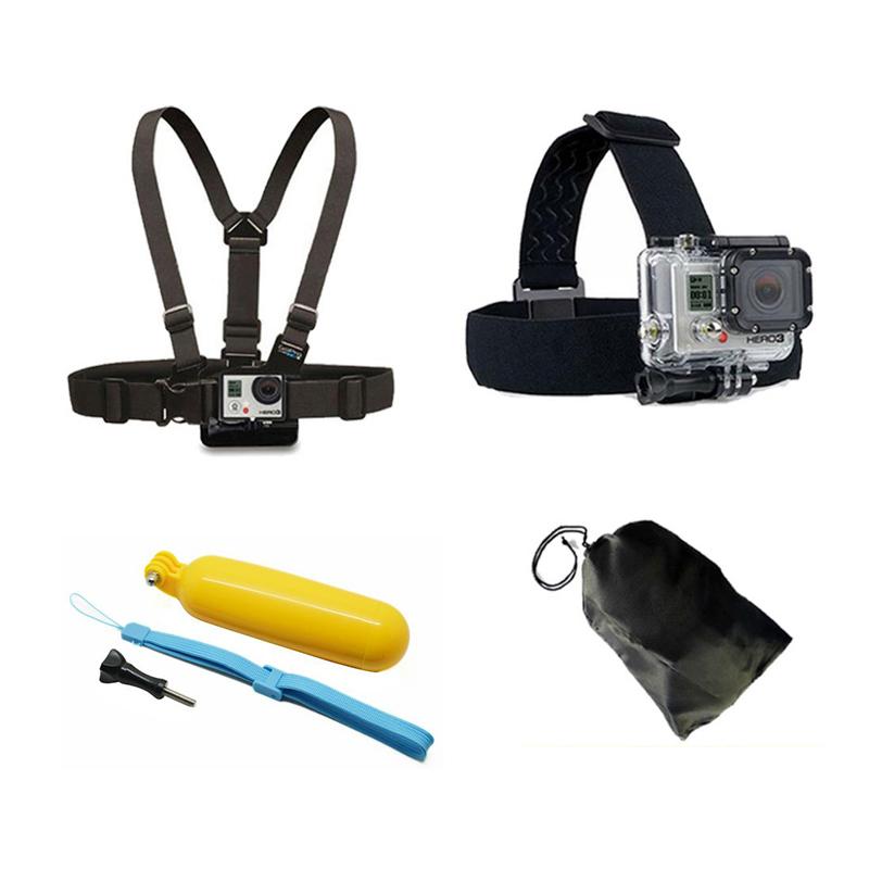 GoPro Accessories Kit 4 in 1 Chest Strap + Head Strap+Floating Handle Grip +bag For GoPro Hero 4/3+/3/2/1 SJCAM SJ5000 SJ4000(China (Mainland))