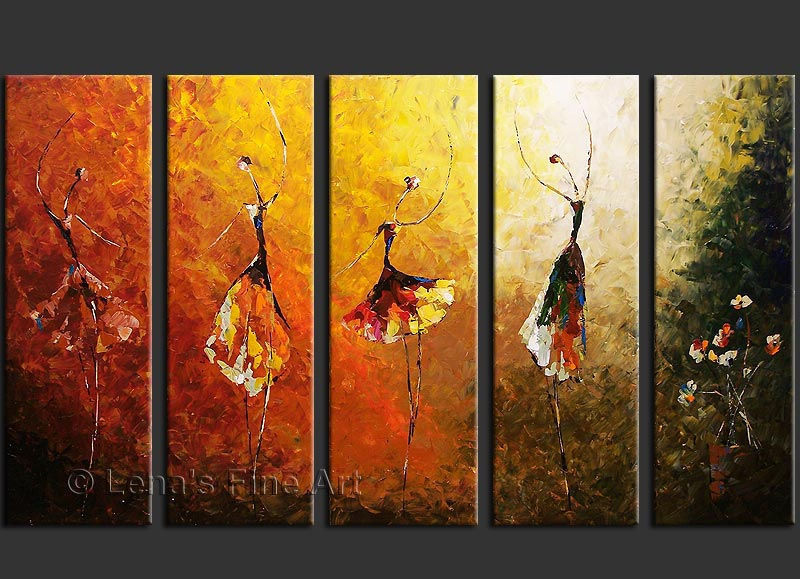 Modern Art Line Painting : Hand paint abstract panel canvas art ballet dance