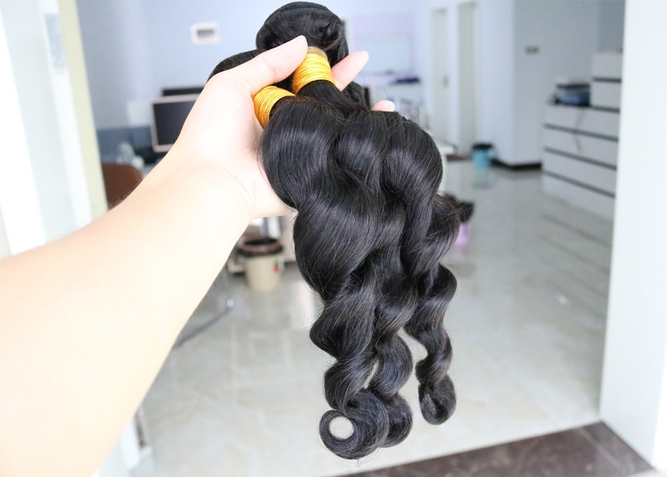 clip in human hair extensions malaysian loose wave virgin hair 9A unprocessed malaysian loose wave human hair 1 PC