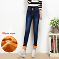 Women s winter warm fleece ultra high waist jeans Female skinny stretch denim pencil pants Plus