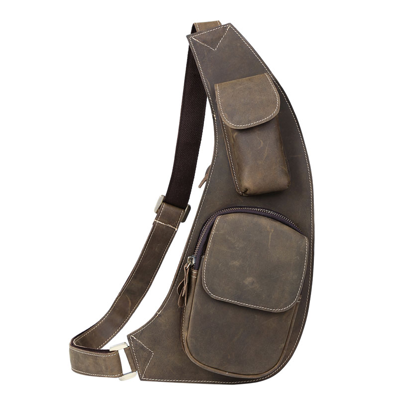 TIDING Men Sling Messenger Bag Crossbody bag Cowhide Leather Hiking Sport Bag Brown NEW 3011 Free shipping(China (Mainland))