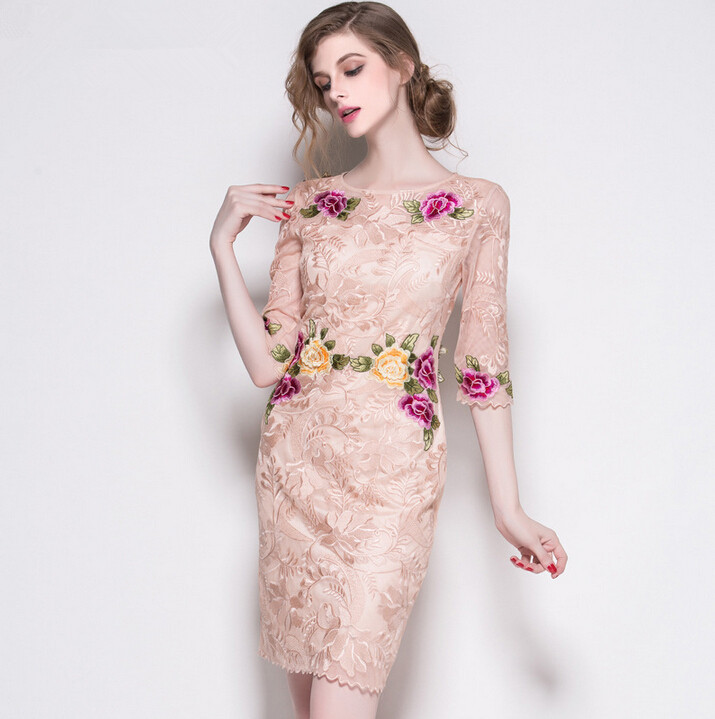 European floral embroidered sleeves dress fall 2015 Europe official website new stars in the hollow with the ladiesОдежда и ак�е��уары<br><br><br>Aliexpress