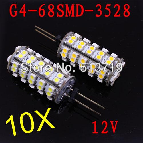 Free shipping 10pcs/lot 12v g4 led 3528 68 smd led lamps warm/cool white led car light 4w bedroom home led lights(China (Mainland))