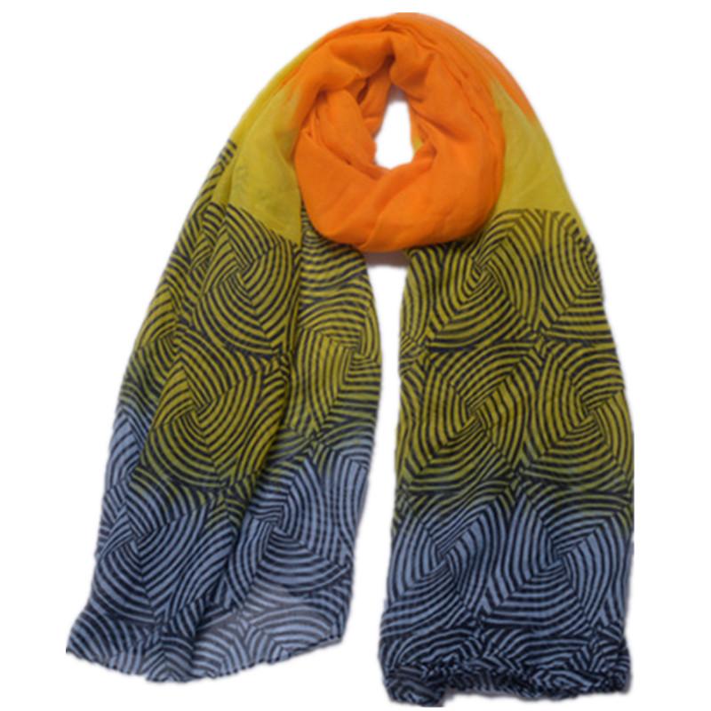 Fashion Ladies Summer Beach Gradient Pattern Printed Shawl Scarf 2016 Brand Long Snood Wrap Bufanda Muslim Hijab Headwear Sjaal(China (Mainland))