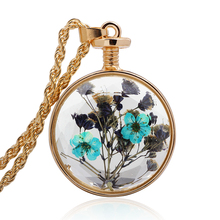 Rhinestone necklaces long natural dried flowers necklace bottles love Bijoux femme ornamentation jewelry Accessories QNN6022(China (Mainland))
