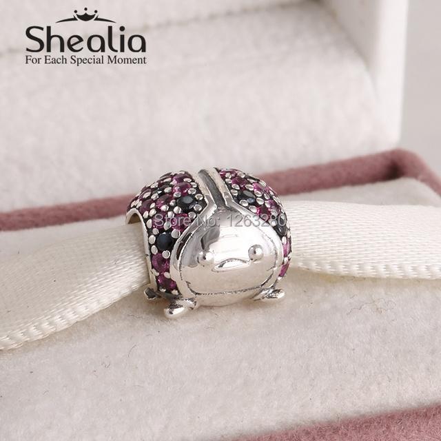 Подвески sHEALIA ювелирные изделия 2015 весенняя коллекция стерлингового серебра 925 вымощают божья коровка с красный и черный cz подходит бренд браслеты SH0609