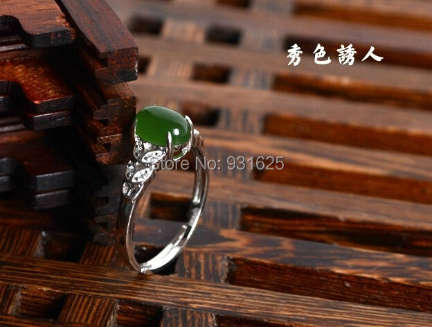 Natural genuine HeTian Jade Crystal 925 Silver Lucky Ring + certificate Green Jade Rings Fashion Womans Jewelry adjustable<br><br>Aliexpress