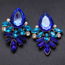 NEW Women Fashion Jewelry Style Blue/Black/Pink Earrings Handmade Rhinestone sweet stud crystal Dangle earrings for women girl(China (Mainland))