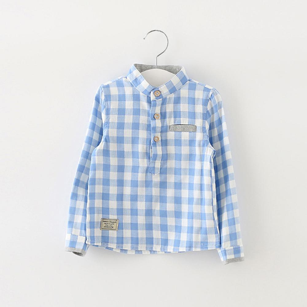 Retail 2016 Newest Boy Shirt Spring Summer Long Sleeve Cotton Plaid Children Tops Brand Fashion Top Quality Kids Shirt