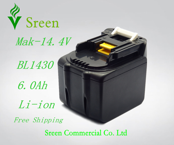 New 14.4V Li-ion 6000mAh Replacement Power Tool Rechargeable Battery Packs for Makita BL1430 194065-3 194066-1 BL1440 BDF440(China (Mainland))