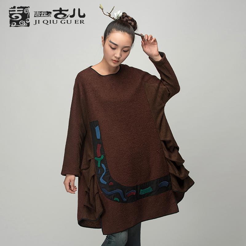 Jiqiuguer Ladies Long sleeve Wool Jackets Ethnic Autumn Winter Coats Appliqued Woolen Coats Woolen Outerwear G154Y008(China (Mainland))