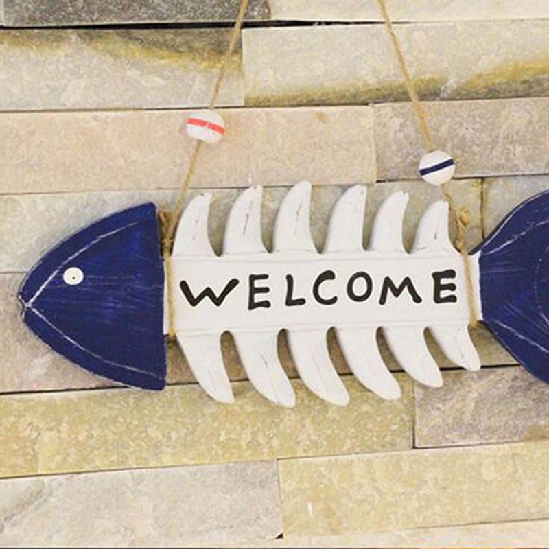 Mediterranean style wooden fish bones Welcome hanging tag Speical store Welcome decorative hanging tag