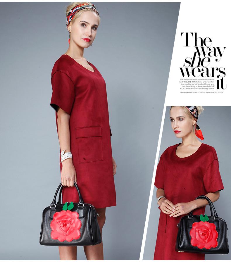 Qiwang женщины сумку 2016 новые подлинная кожаная сумка мода зеленые листья красный цветок элегантность бостон мешок женщин сумки через плечо