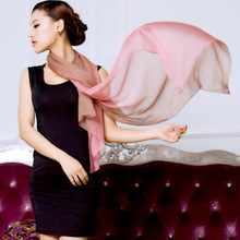2016 spring 100% real silk scarf  wrap shawl for women gradient solid  color Long style fashion design Scarves180x70cm(China (Mainland))