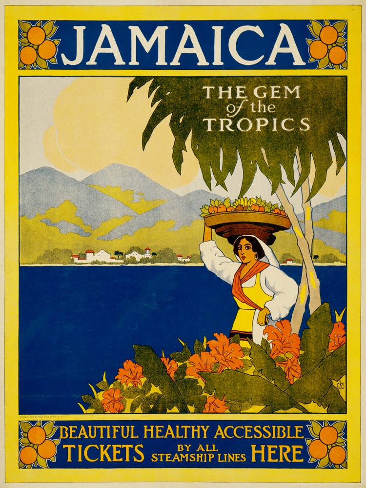 vintage poster canvas painting modern decorative art cartoon pictures Jamaica gem of the tropics Thomas Cook travel poster 1910(China (Mainland))