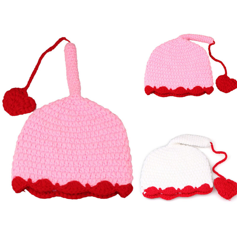 Goforward 2014 1PC Long Tail Red Heart Girl Boy Crochet Knit Photography Prop Cap Hat(China (Mainland))