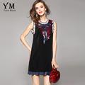 YuooMuoo 2016 New Summer Women Dress Brand Design Fashion Bow Sequined Party Dress Sleeveless Black Mini