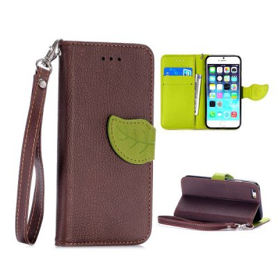 product Coffee Lichee Pattern Cover TPU + PU Case with Leaf Magnetic Buckle Card Holder Stand Function for iPhone 6 iPhone6 i6 4.7 inch