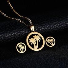RINHOO דגי סוס כנף רוז פרח זהב צבע נירוסטה סטים לנשים שרשרת עגילי תכשיטי סט תכשיטי חתונה(China)