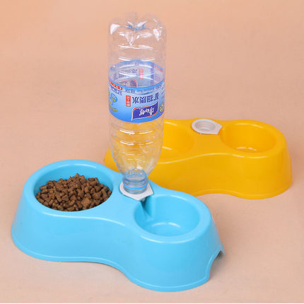 Free Shipping High Quality Dual Port Dog Utensils Bowl Cat Drinking Fountain Food Dish Pet Bowl Automatic Water Dispenser Feeder(China (Mainland))