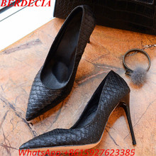 Discount Top Quality Black Snake Printed Women Shoes Sexy High Heels 2017 Pointed Toe Party Women Pumps Office Lady Shoes(China (Mainland))