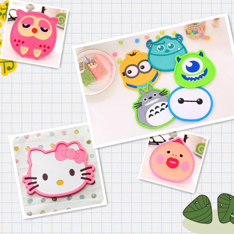 8 kinds of Cartoon Hello Kitty/owl ect coaster silicone coaster slip placemats coasters dishwashing accessories home decor *(China (Mainland))
