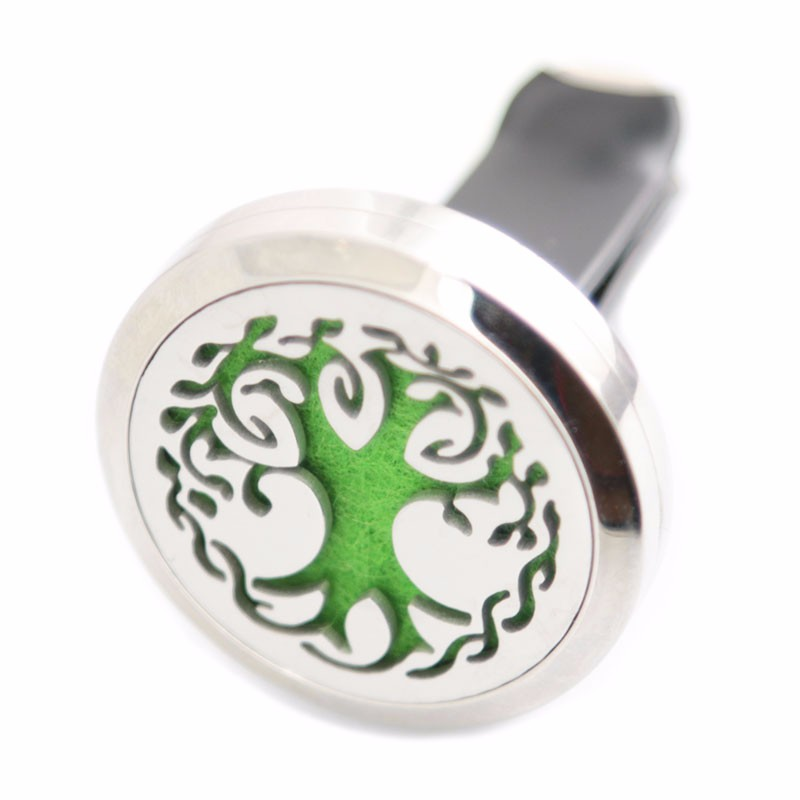 AMYA Jewelry  Trees of Life 30mm Diffuser 316 Stainless Steel Car Aroma Locket Essential Oil Car Diffuser Lockets Free Pads