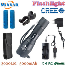 zk10 3000 lumens LED lanterna  xm-l t6 flashlight Zoomable lamp 2 * 18650 5000mAh rechargeable battery car charger  cover holder