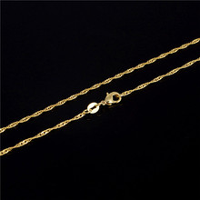 New Arrival 2mm One Piece 18K Gold Plated Fashion 2mm Water Wave Chain Necklace 20inch High Quality Attractive Noble Necklace(China (Mainland))