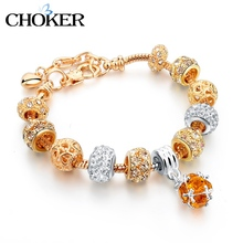 CHOKER 18K Gold Beads Charm Bracelets & Bangles for Women With Crystal Stones DIY Vintage Love Jewelry 2016 Femme Pulseras(China (Mainland))