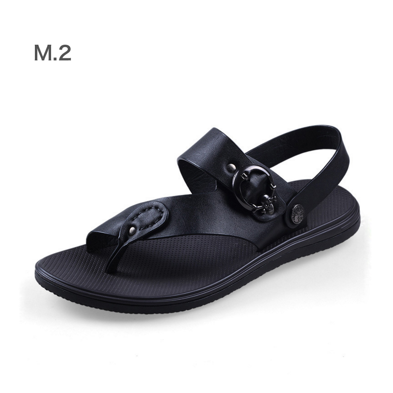 Spring Summer Men Genuine Leather Flat Beach Sandals Large Yards Genuine Leather Men Slippers Can Be Converted Sandals Slippers<br><br>Aliexpress