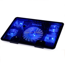 "Notebook cooling pad Blue LED Laptop Cooler 5 Fans 2 USB Port Stand Pad for Laptop 10-17"" PC usb cooler for notebook +USB Cord(China (Mainland))"