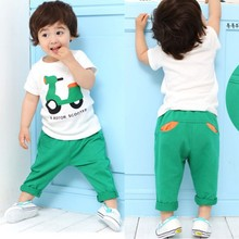 Kids Baby Children Sets Clothing Printed Motor T-Shirt Tops+Long Pants Outfits Casual Suits(China (Mainland))