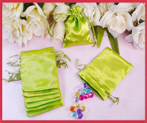 "300pcs/lot Sage Green Satin Bags Pouch 4x3""= 10x8cm purse christmas shower(China (Mainland))"