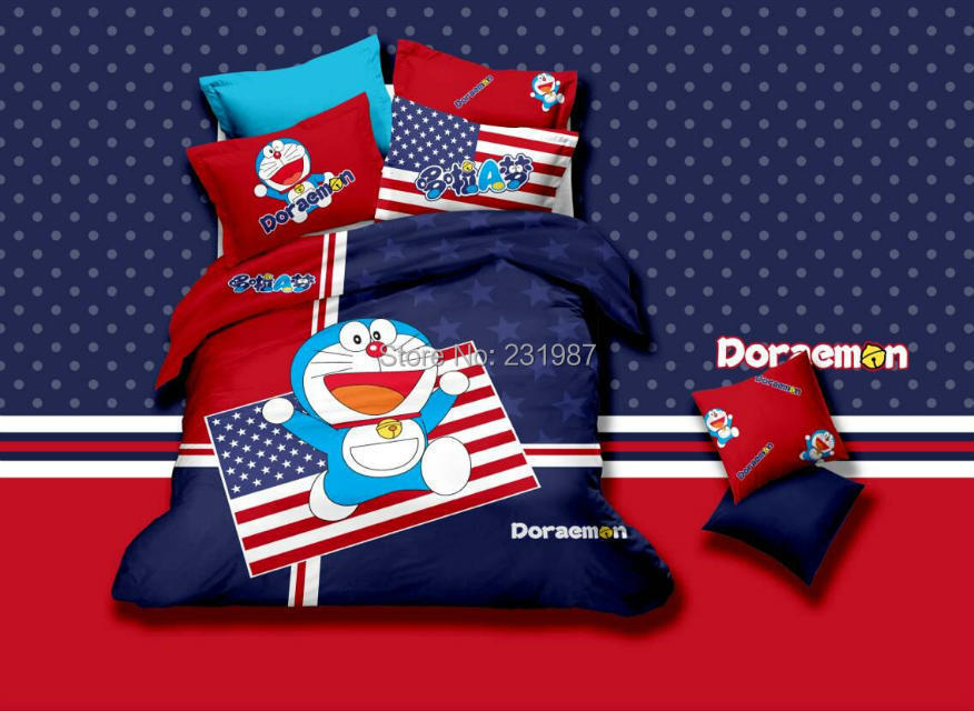 Unique USA American Flag/British Flag/Kitty/Doraemon/Mickey Bedding Set Queen Size,Red and Blue Cartoon Bed Sheet Sets Cotton(China (Mainland))