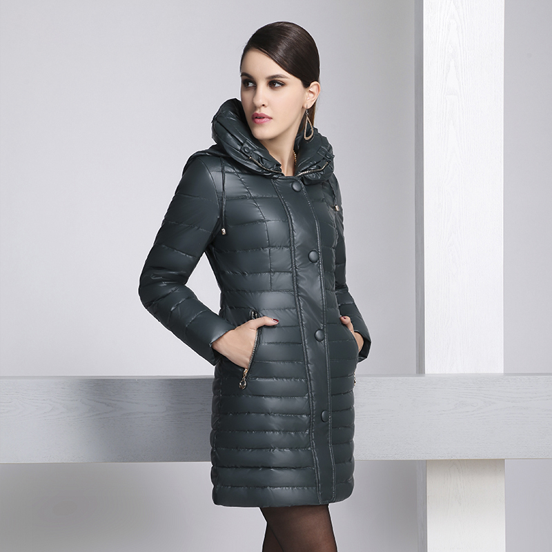 New winter fashion women duck down coat slim medium-long with a hood single breasted formal standard solid women's down parkas(China (Mainland))