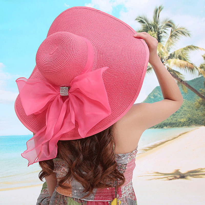 2015 YUXI Summer Womens Ladies Foldable Wide Large Brim Floppy Beach Hats Sun Straw Hats Sexy Seaside Sunscreen Caps NewОдежда и ак�е��уары<br><br><br>Aliexpress