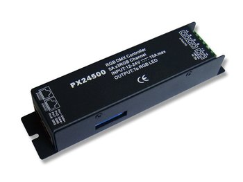 PX24500 (RJ45 interface ),DMX 512 decoder ,can drive 5A each CH. 256 level brightness ,full color control