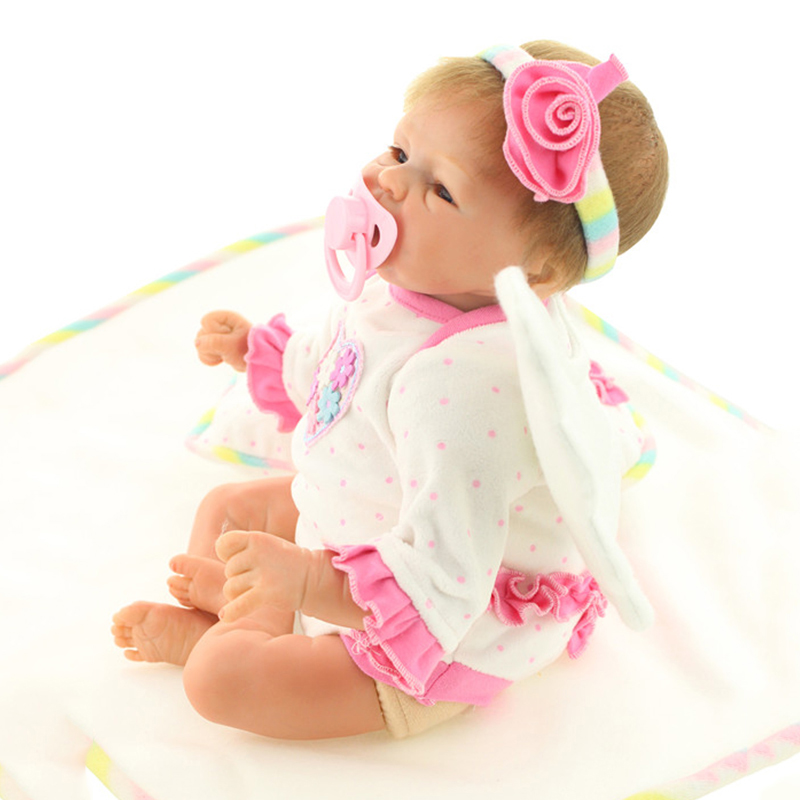18 Inch Lifelike New Born Baby Dolls Silicone Bebe Reborn Rooted Mohair Soft Vinyl Fake Babies Doll Girl Toys Brinquedos Kids(China (Mainland))