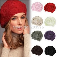 2016 new fashion women hat knitted wool beanie knitted baggy hat girls winter warm beret bob soft crochet ear protect Boonie hat(China (Mainland))
