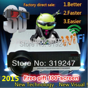 1080P Brirghtest 5500lumens Android 4.2 Native Full HD Led Digital Smart 3D Home Theater Projector Free Gift 100'' Screen(China (Mainland))