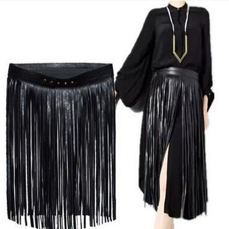Europe fashion Punk rivet wearing rope long tassel girdle female Black Leather Belt wild for women High Waist belt Decorative(China (Mainland))