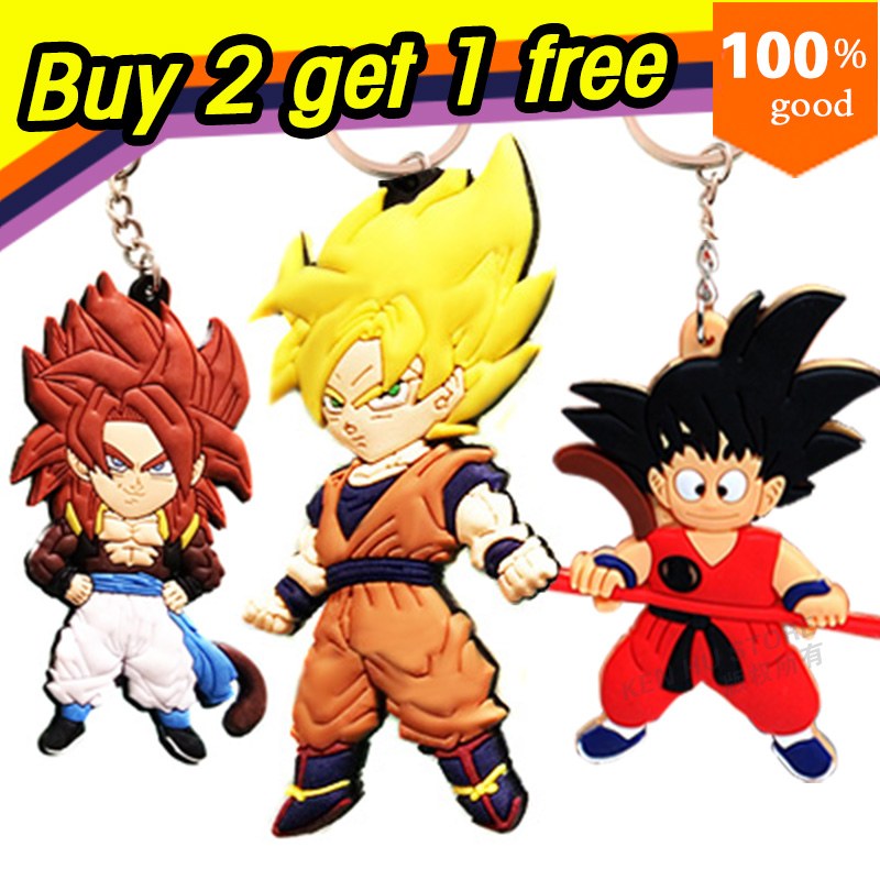 Buy 2 get 1 free dragon ball z anime cartoon goku Keychains action toy figures pendant