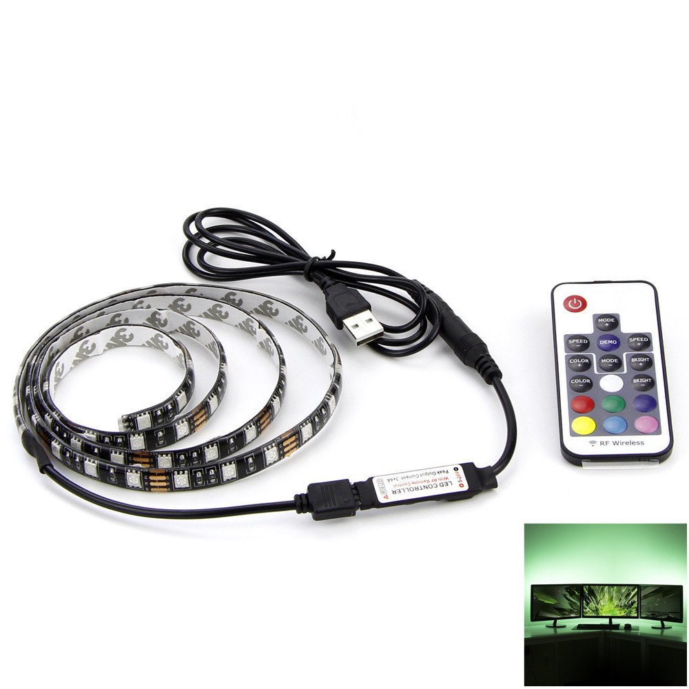 USB RGB LED Strip 5050 Flexible Adhesive Tape Multi-color Changing Lighting Kit for Flat Screen HDTV LCD Desktop PC Monitor(China (Mainland))