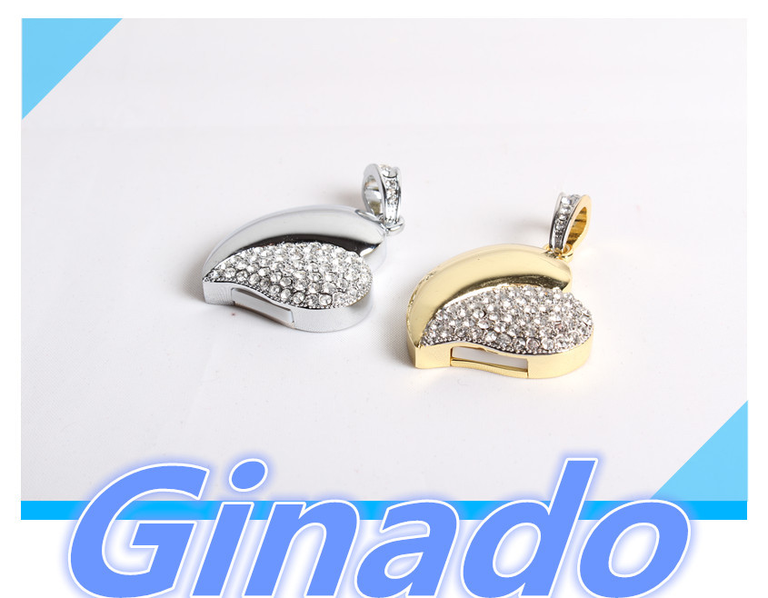 free shipping 8G 16G 32G 64G usb flash drive pen drive heart shape metal crystal neckless pendrive disk usb stick memory stick(China (Mainland))
