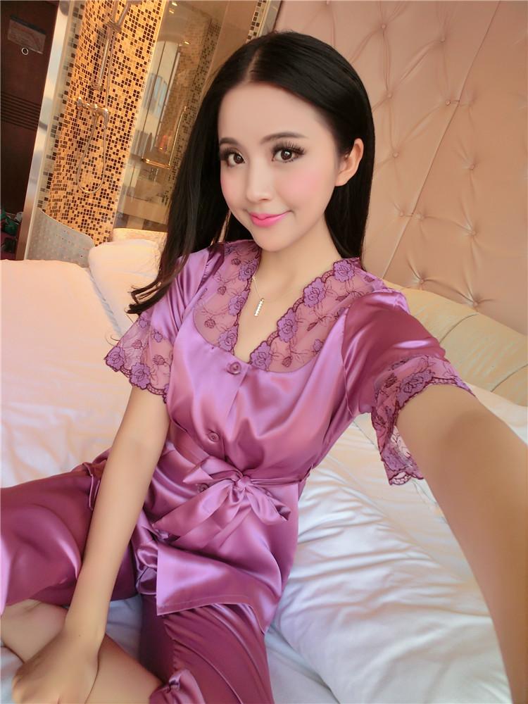 d82b9abd5b Women Sexy Silk Satin Pajama Set Short Sleeve Pyjama Femme Embroidery  Pijama Set V-neck Sleepwear Plus Size Nightwear For Summer