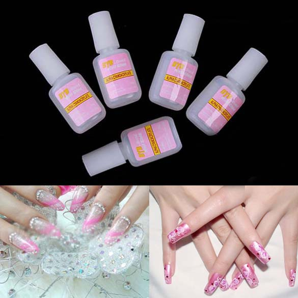 10g Nail Art Glue Tips Glitter UV Acrylic Rhinestones Decoration With Brush Nail Glue(China (Mainland))
