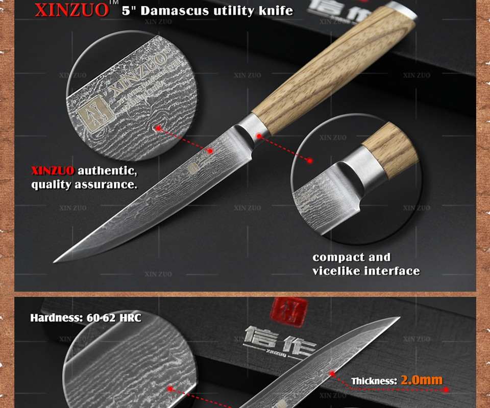 "Buy XINZUO 5""  Utility knife 73 layers Damascus kitchen knife Japanese VG10  table Universal knife logs wood handle free shipping cheap"