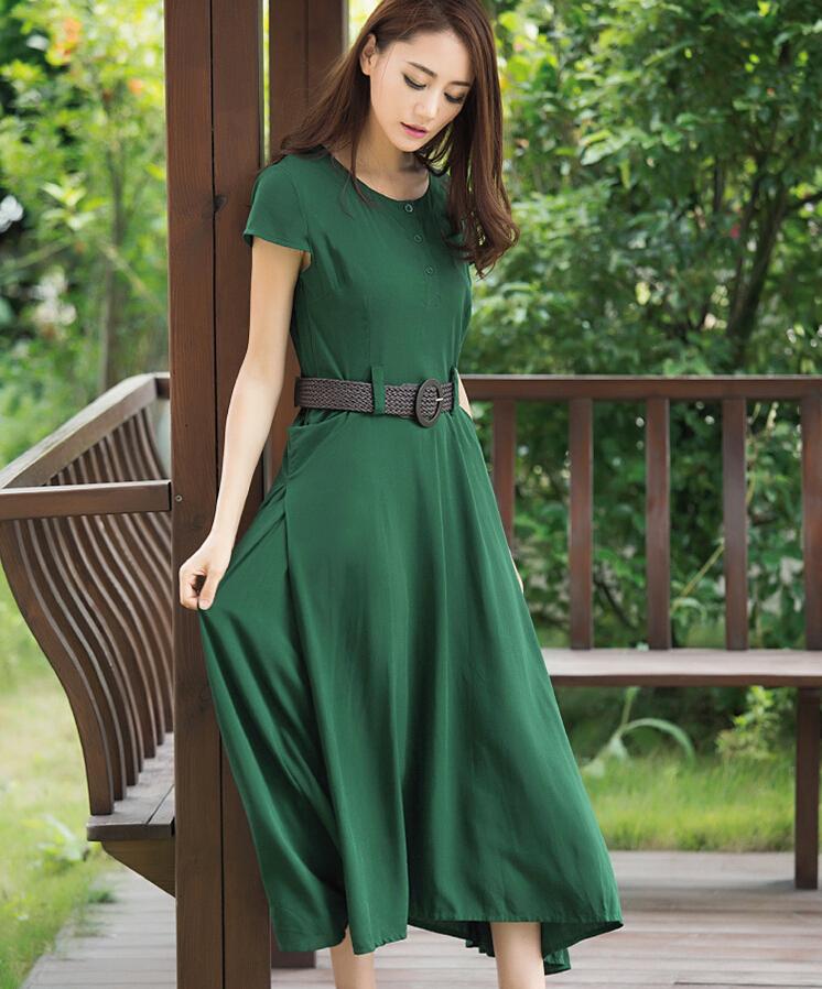 Summer New Fashion Ladies Dress High quality Pure color Big yards Bohemian Short sleeves Dress Elegant Slim Office Dress G1575 Одежда и ак�е��уары<br><br><br>Aliexpress