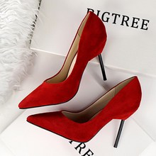 Summer New European Fashion Elegant Flock Suede WomensHigh Heels Shoes Pointed Toe Ultra Thin Heel Women
